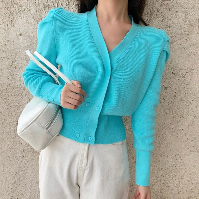 Áo Sweater Khoác Ngoài Thiết Kế Tay Dài Dáng Rộng Màu Trơn Phong Cách Cổ Điển Hàn Quốc