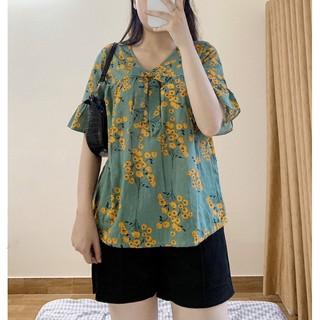 Áo hoa nhí xanh chất đũi Nhật mềm FULLSIZE S-XXL