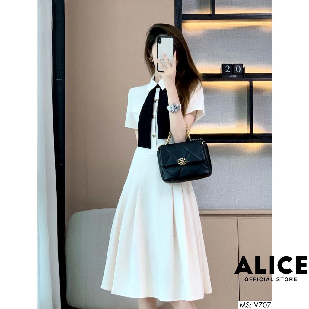 Mặc gì đẹp: Sang trọng với Váy Trắng Công Sở Tiểu Thư Dáng Xòe ALICE V707, Váy Thiết Kế Tay Lỡ Váy Dài Qua Gối