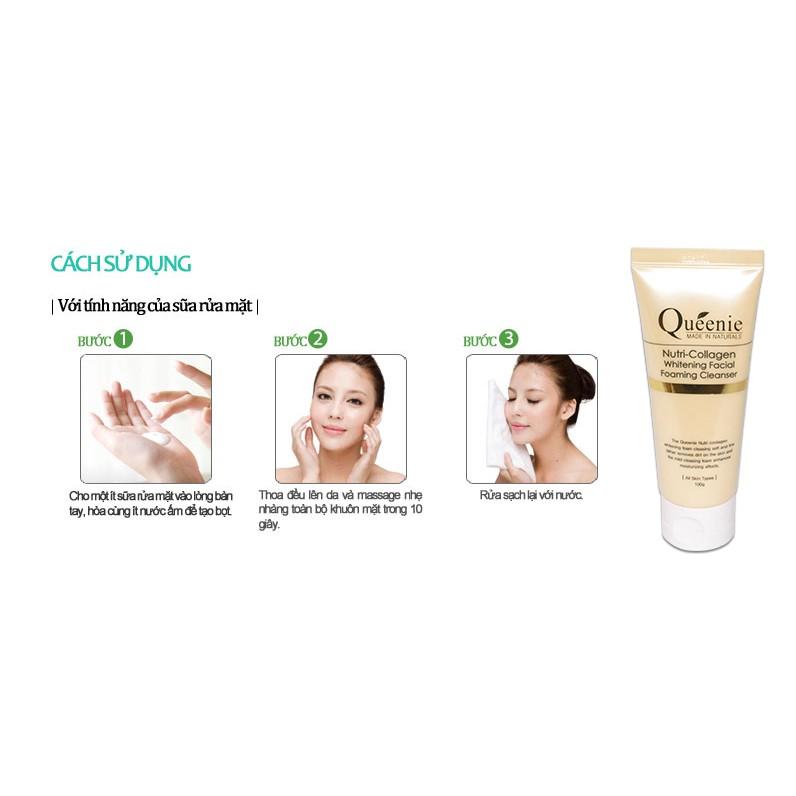 Sữa rửa mặt Queenie Nutri Collagen Whitening Facial Foaming Cleanser |  Shopee Việt Nam