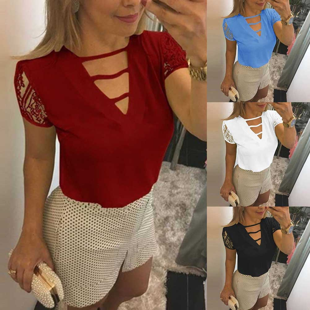 【kem chống nắng】Plus Size Lace Patchwork Short Sleeve V Neck Blouse Women Solid Color Shirt