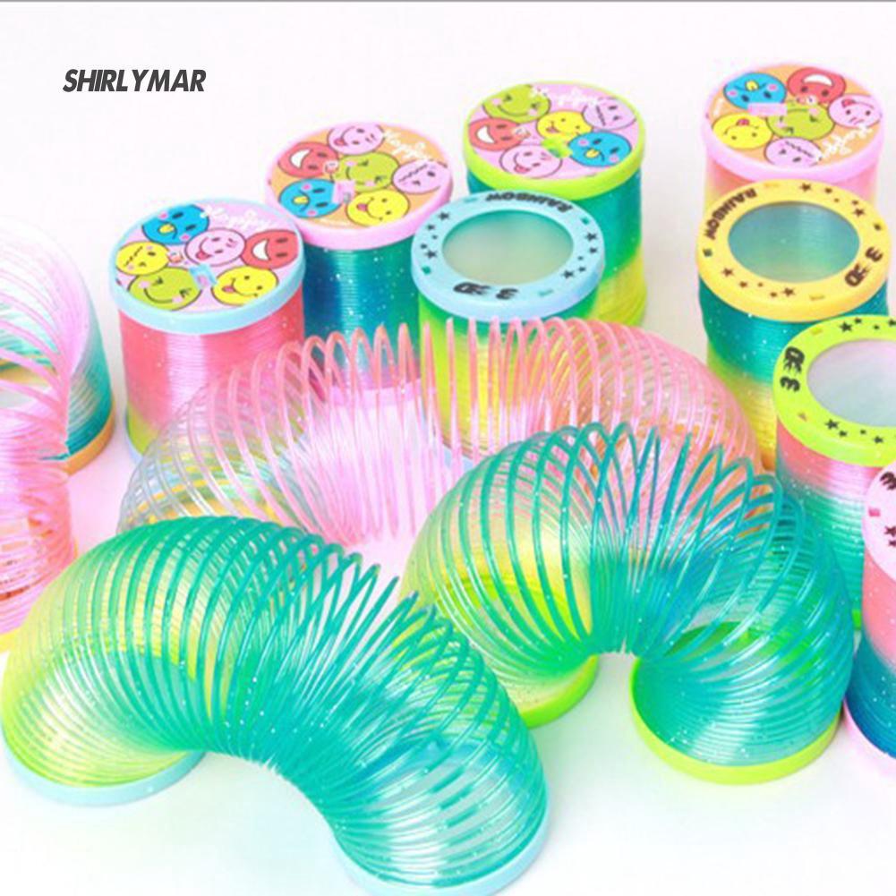 ஐSr Creative Glow in Dark Spring Toy Magical Folding Rainbow Circle Educational