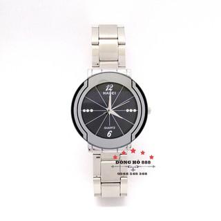 Đồng hồ nam HALEI mặt tròn dây kim loại bạch kim thumbnail
