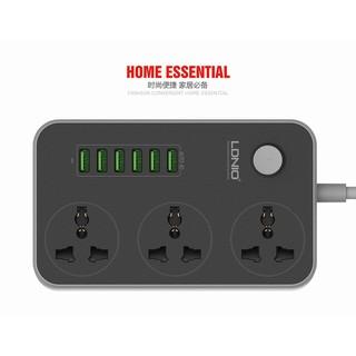 Ổ cắm điện kèm 6 cổng USB cao cấp kèm tự động chỉnh dòng ra, phích cắm EU cho Việt Nam LDNIO SC3604 Đen 1.5m