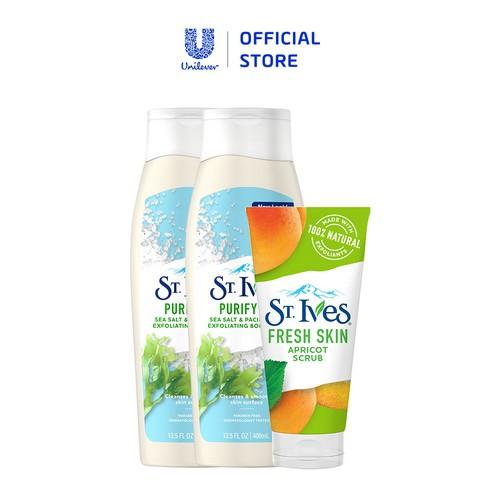 Bộ 2 sữa tắm St.Ives (400ml x 2) + Sữa rửa mặt tẩy tế bào da chết St.Ives Chiết Xuất Trái Mơ 170g