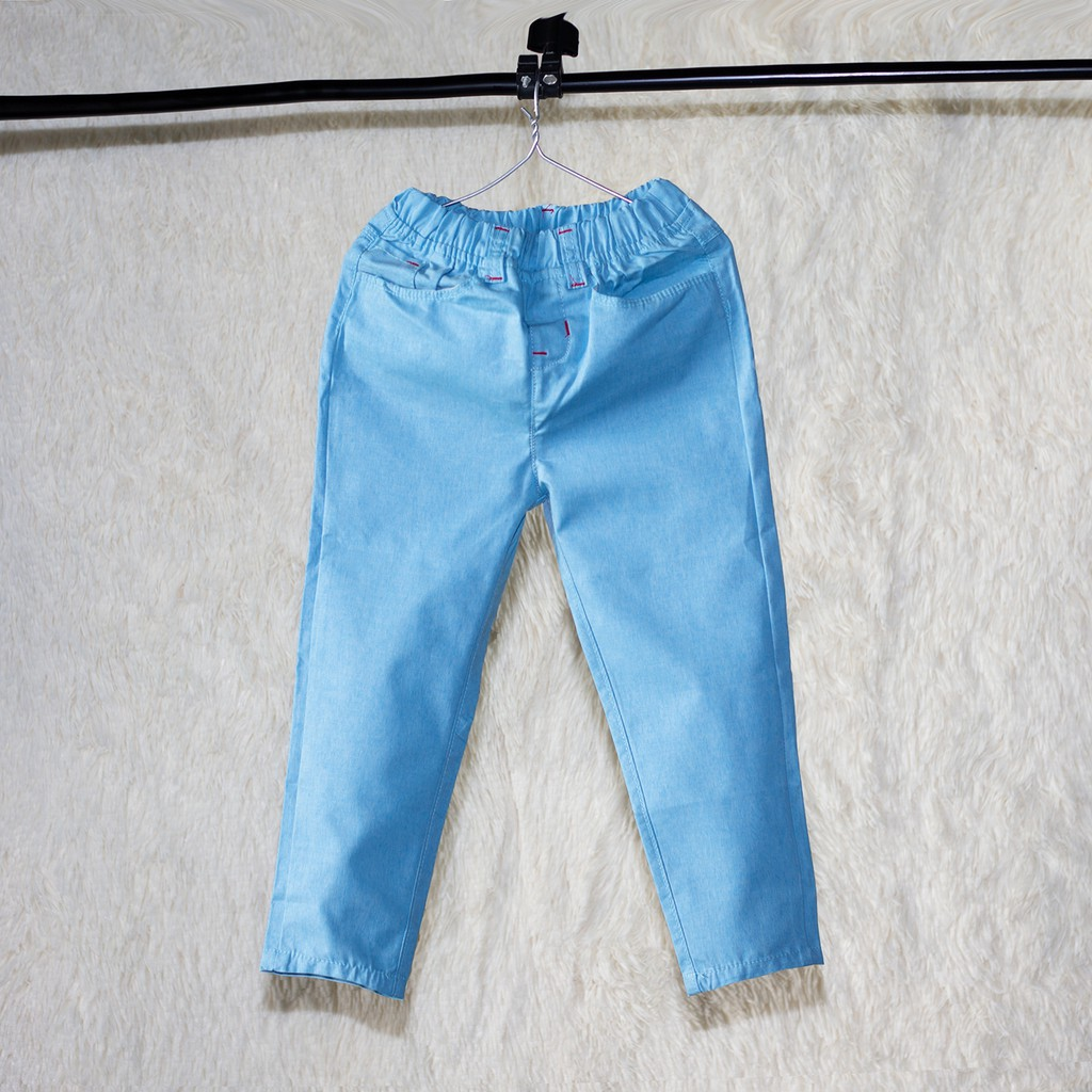 Quần Kaki  dài lưng thun mẫu trơn sành điệu cho bé trai,Quần dài kaki cao cấp cho bé trai từ 12-35 ký