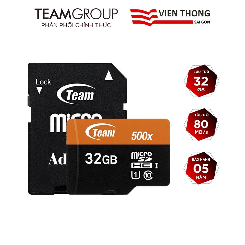 Thẻ nhớ microSDHC Team 32GB 500x upto 80MB/s class 10 U1 kèm Adapter (Cam) - Hãng phân phối chính thức