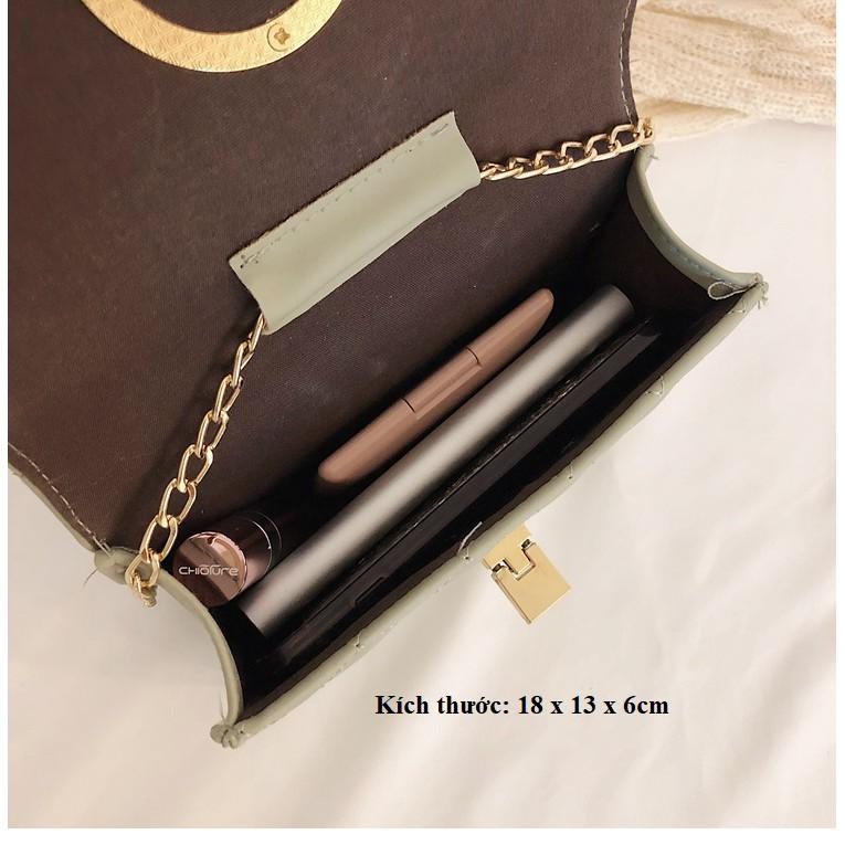 Túi xách nữ đeo chéo LOKADO trần trám khóa tròn siêu sang HY053