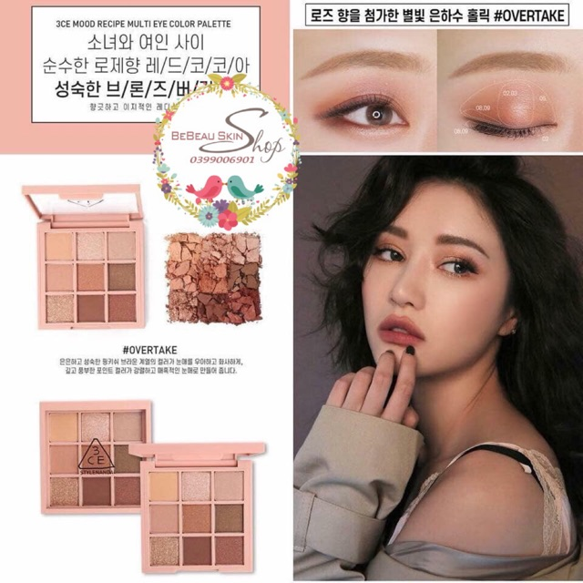 Bảng Phấn Mắt 9 Ô 3CE Mood Recipe Multi Eye Color Palette - Overtake