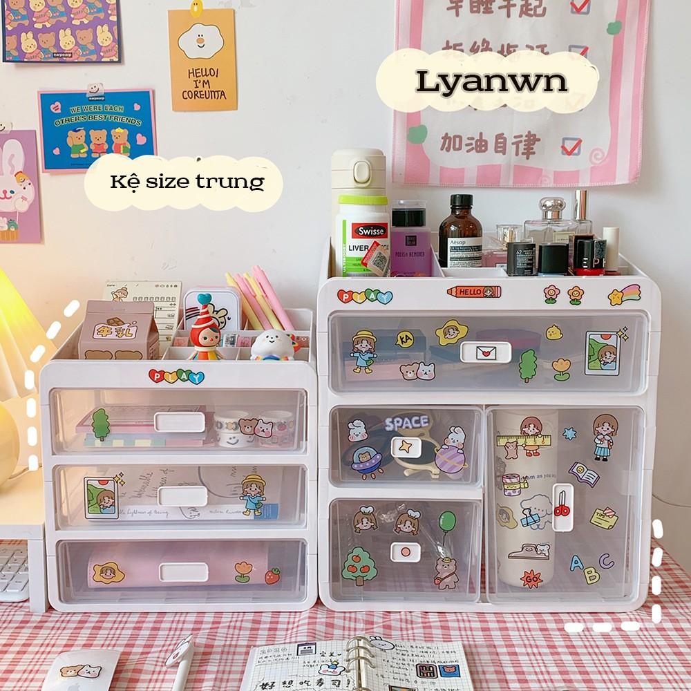 Kệ 4 tầng mỹ phẩm ,hộp mỹ phẩm Hàn Quốc ngăn kéo loại hộp nhựa lưu trữ đồ trang sức lưu trữ ins lyanwn