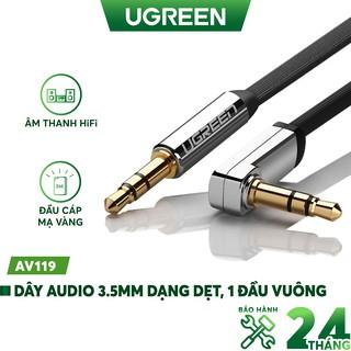 Dây Audio 3.5mm dẹt, mạ vàng 1 đầu vuông 90 độ UGREEN AV119 - Hàng chính hãng