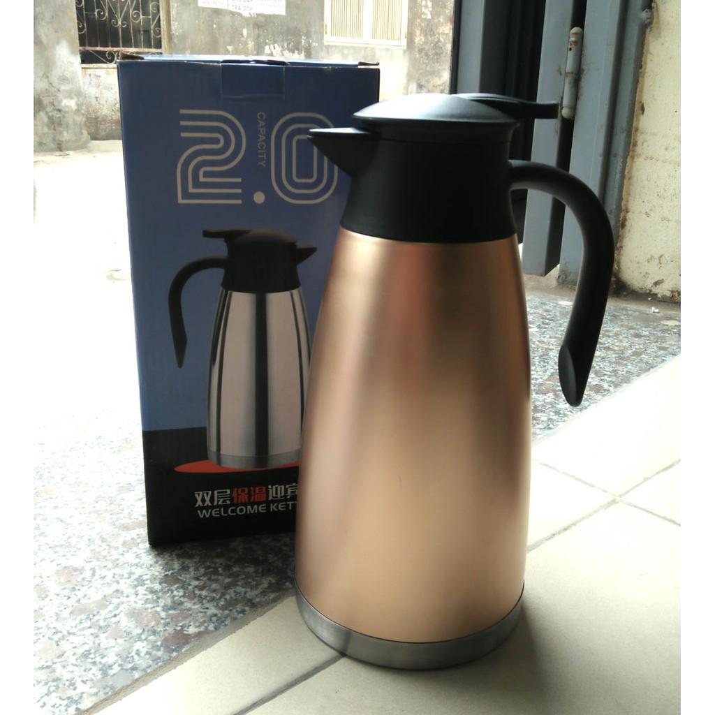 Bình giữ nhiệt, bình pha trà inox 2 lớp dung tích 2 lít