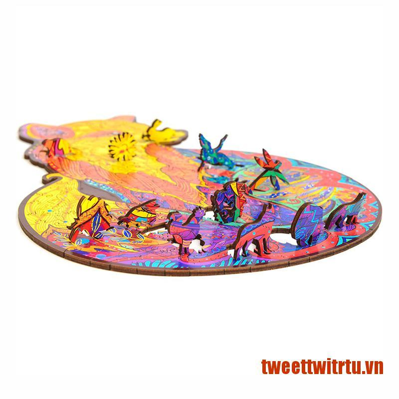 【TrTu】DIY Wooden Puzzle Animal Shaped Wooden Jigsaw Puzzle Improve Concentrati