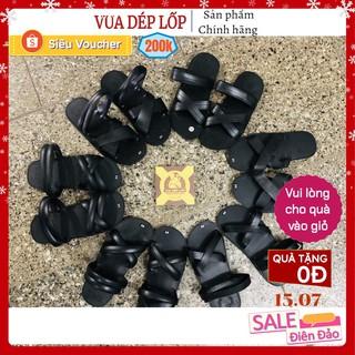 Dép cao su nam quai chéo 6 mẫu màu đen làm thủ công từ lốp ô tô Vua dép lốp