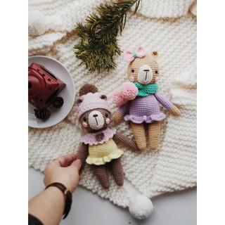 Gấu áo tím PATSKUN – Thú len handmade