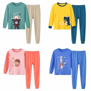 2020 autumn winter children underwear 3years 7year 12year children pajamas sets for boys girls cartoon dinosaur print warm clothes sets 2pcs