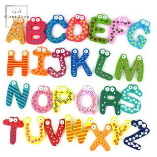 26/ 10/ 12 Pcs Baby Kids Numbers Letters Wood Alphabet Fridge Magnet Early Educational Toy