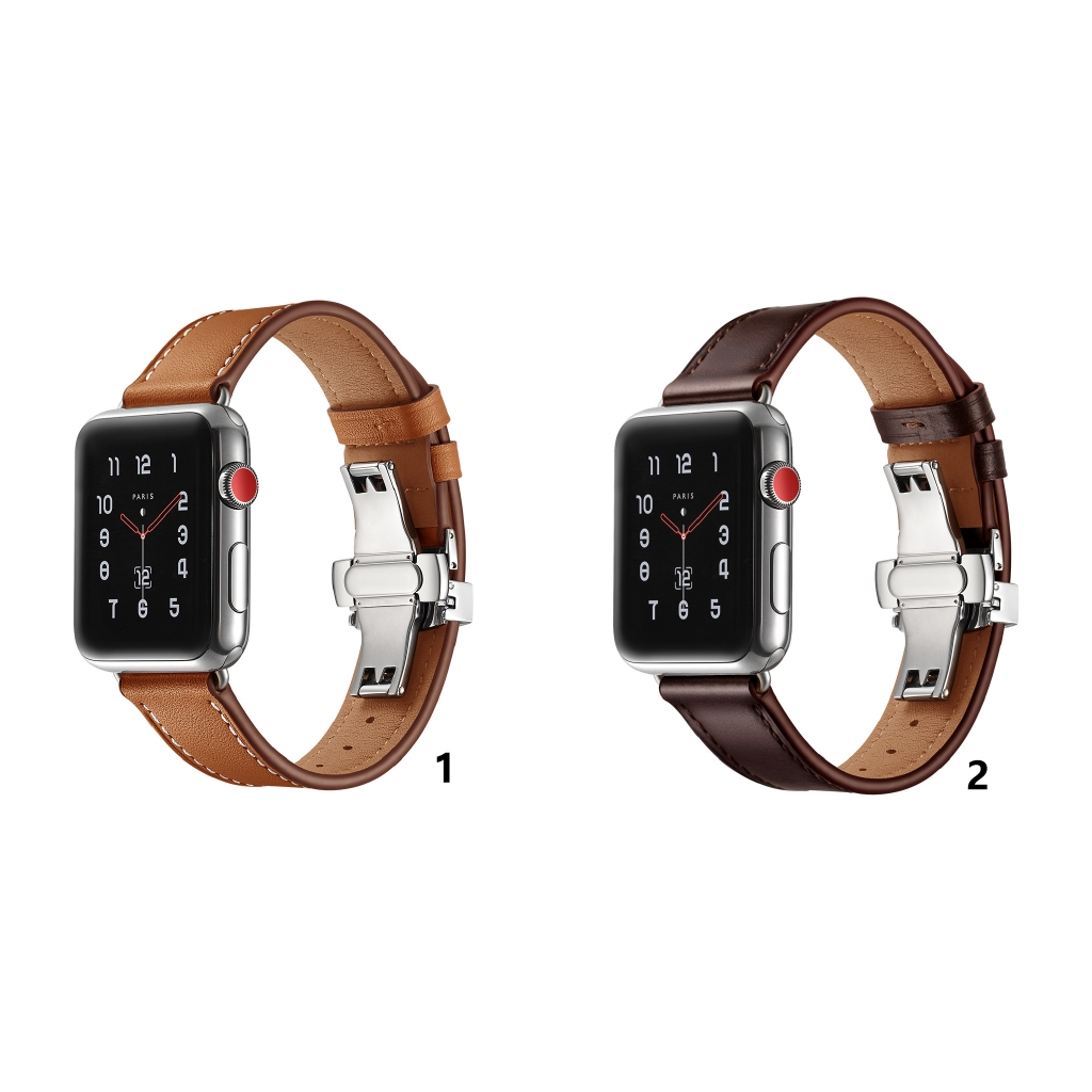 For Apple Watch 1234 Generation Butterfly Buckle - Steel Buckle Leather Strap Apple Watch Replacement Wristband Popular