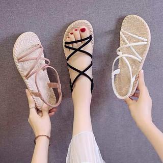 Giày Sandal Nữ Quai Chéo Đế Giả Cói Đi Học Đi Mưa - GL002