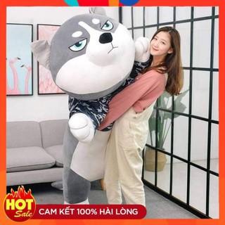 [HOT] Chó Husky Bông Siêu To Khổng Lồ – Chất Liệu Lông Nhung Mềm Mịn Co Dãn 4 Chiều