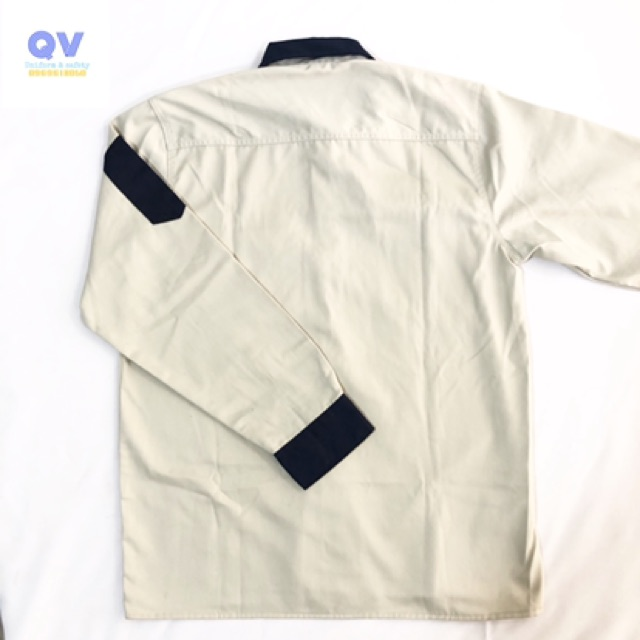 Quần áo bảo hộ lao động - Bộ quần áo bảo hộ - Bộ quần áo be phối tím than- dáng xuông - Vải v31