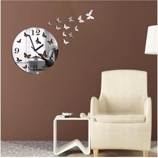 Đồng hồ treo tường tráng gương 3D hình đàn bướm