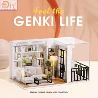 Nhà búp bê DIY GENKI LIFE gồm nội thất và đèn LED (Kèm MICA + dụng cụ keo) – Quà tặng tự làm bằng gỗ