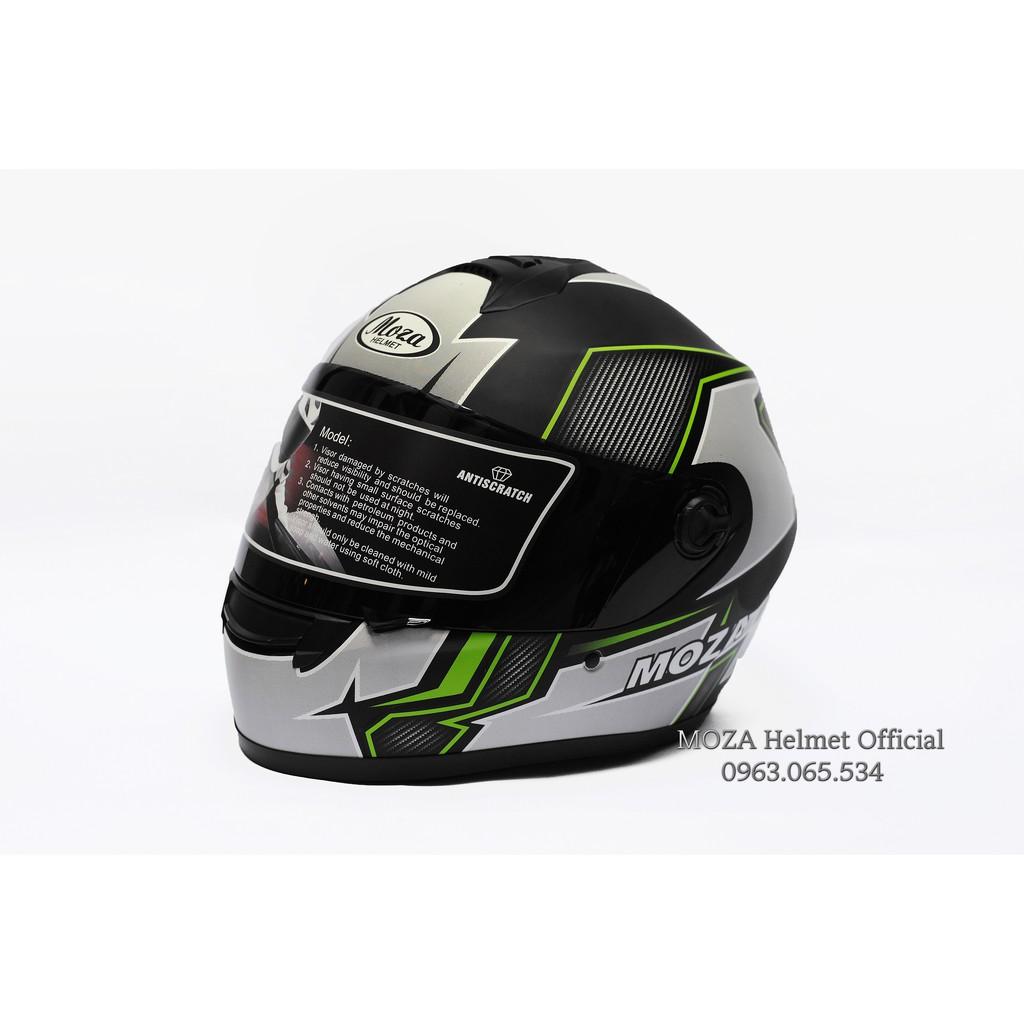 Mũ bảo hiểm Moza 447 tem xanh lá