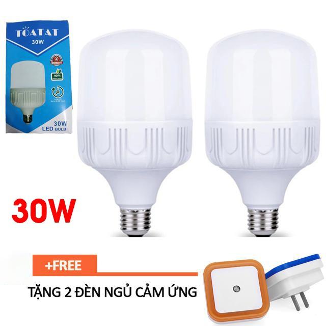 Bộ 2 Bóng đèn Led trụ 30W Siêu sáng tiết kiệm điện ánh sáng trắng (tặng bộ 2 đèn ngủ cảm ứng)