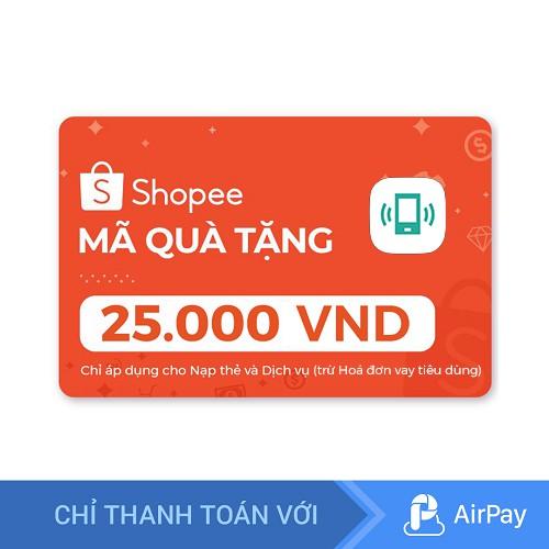 [E-voucher] Mã quà tặng Nạp thẻ dịch vụ (trừ Hóa đơn vay tiêu dùng) 25.000đ thanh toán qua A
