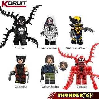 Minifigure nhân vật siêu anh hùng wolverine, anti gwenom, venom, carnage, winter soldier