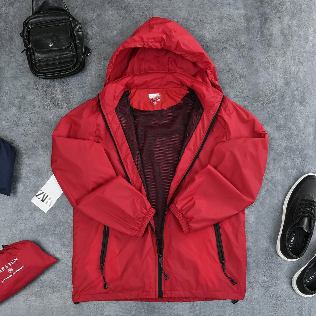 Áo Gió Nam Zara 2 Lớp, Vải Gió Mềm Mịn, Chống Nước Cực Tốt, Hàng Xuất Khẩu G-3