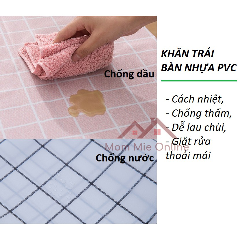 Khăn trải bàn caro, nhựa PVC chống thấm nước - B129 - J185