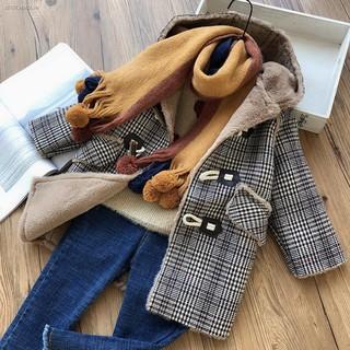 ✗Korean version of boys and girls one-piece fleece coat winter imitation rabbit fur plaid baby horn button cotton hooded jacket