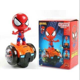 Đồ chơi người nhện cân bằng xoay 360 độ phát sáng phát nhạc
