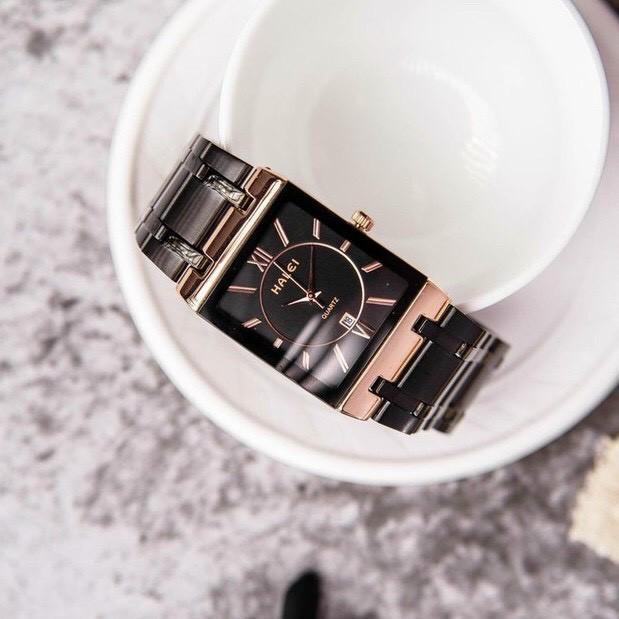 Đồng hồ thời trang nam Halei 564M Hln1 mặt vuông dây kim loại sang trọng
