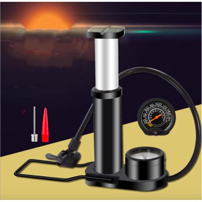 Bơm lốp ô tô, xe máy có đồng hồ đo áp suất Mini Foot Pump Aluminum - Home and Garden