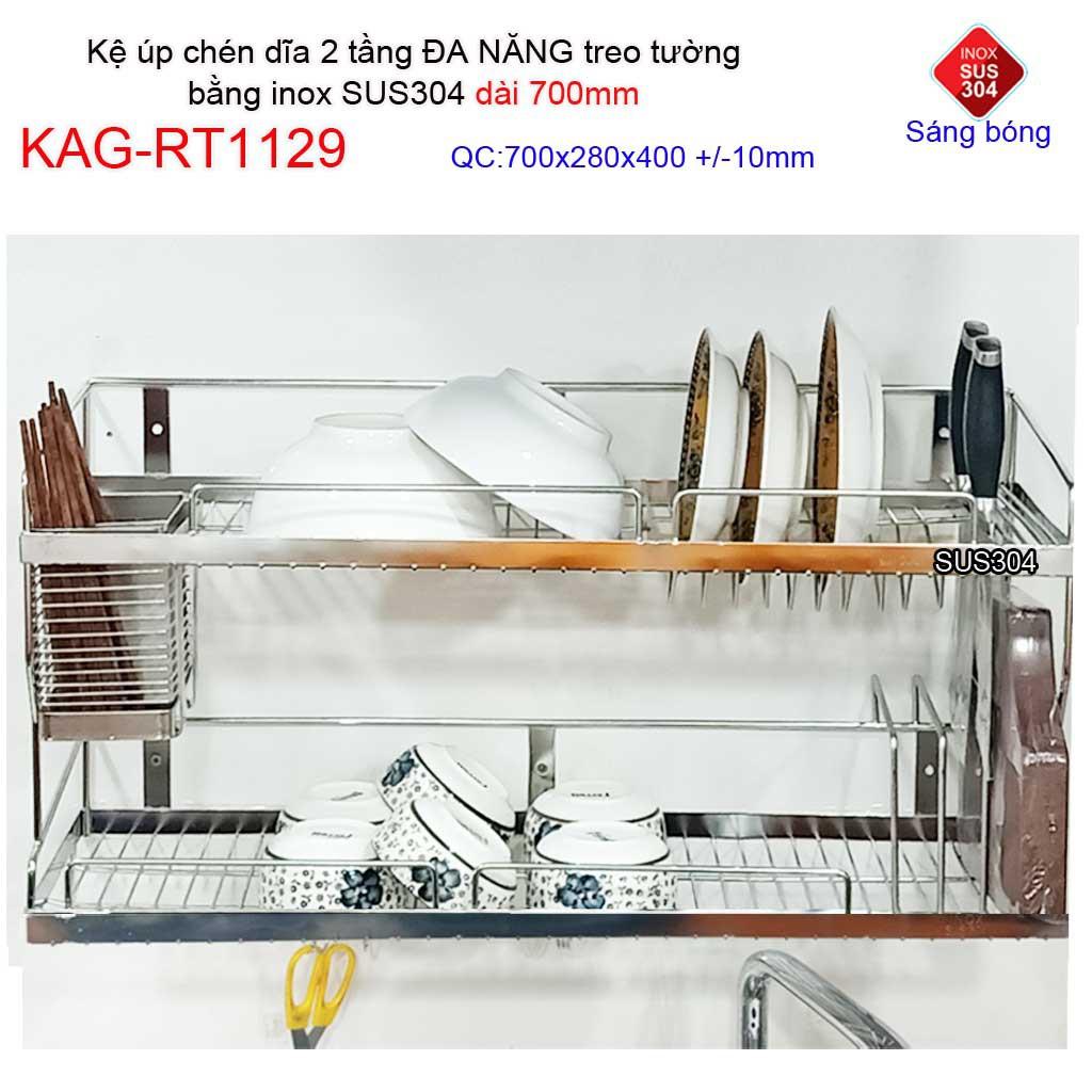Kệ chén dĩa 7T inox 304, kệ úp chén dĩa inox KAG-RT1129