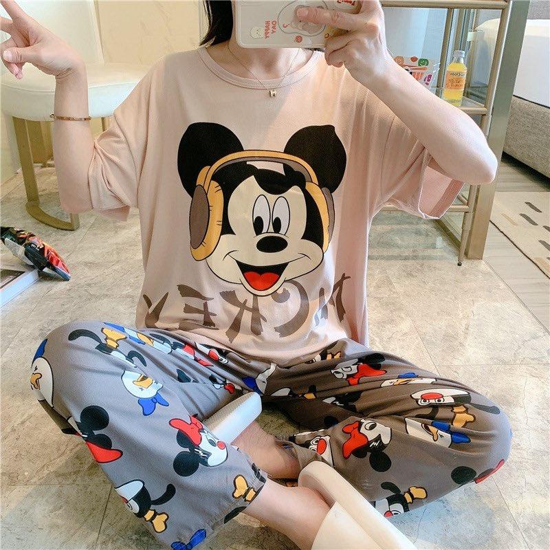 Mặc gì đẹp: [Sẵn] Đồ bộ thun cotton quần dài, đồ mặc ở nhà Quảng Châu, họa tiết hoạt hình dễ thương