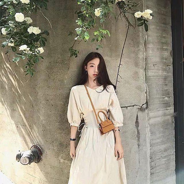 Váy maxi đan dây eo màu be