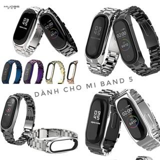 (Sẵn hàng VN) Dây đeo kim loại mắt to Mi band 5 Mijobs - Dây đeo thay thế Miband 5 dùng được Mi band 3 & 4 Chính hãng thumbnail