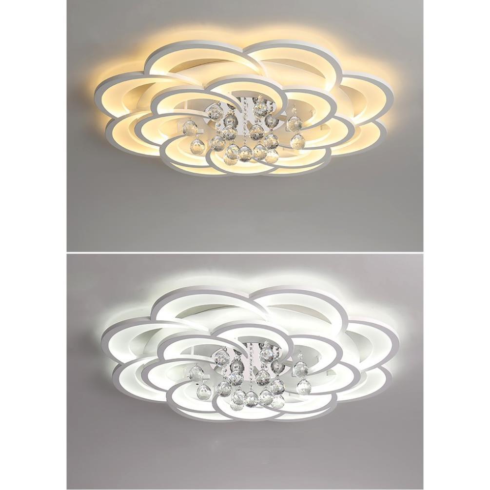 Đèn mâm ốp trần led pha lê cao cấp - đèn chùm phòng khách