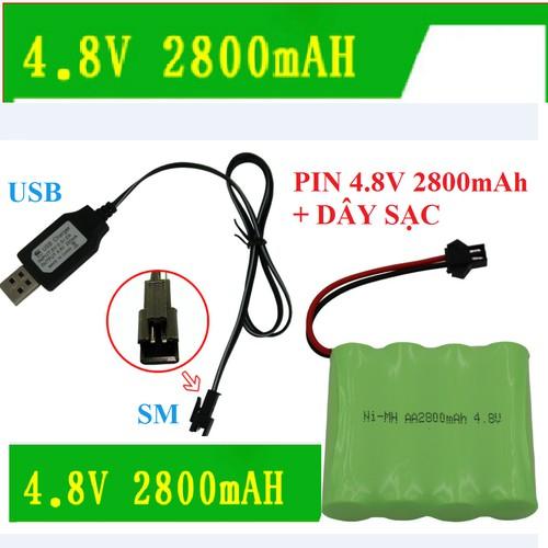 Pin dung lượng cao 4.8V 2800mAh Ni-Mh giắc SM giá rẻ siêu bền cho xe điều khiển Rock crawler