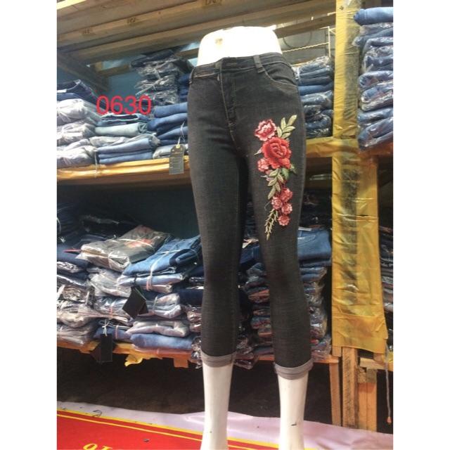 quần jean 9 tấc hoa đính