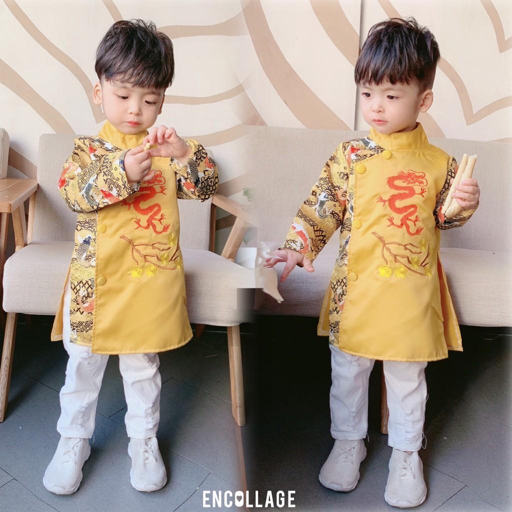 ÁO DÀI CÁCH TÂN TRẺ EM (10-20kg) hình Rồng-Hạc-Mặt Nguyệt, bao chất thời trang cho bé trai,ảnh thật-Size Nhí