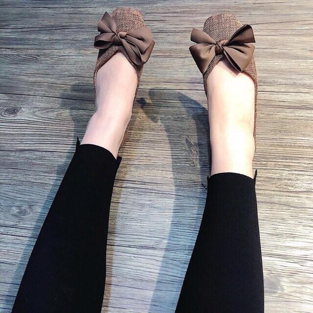 [SALE BÙNG NỔ] Giày bệt nữ chất dạ gắn nơ vải siêu hot 2019
