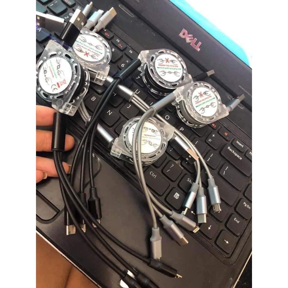Cuộn Cáp Sạc 3 Đầu Thông Minh - Dây Cáp Sạc 3 ĐẦU RÚT MicroUSB, Type C, Lightning Iphone Dây TPE cao cấp