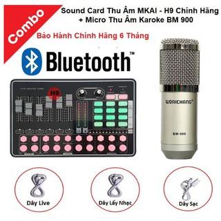 Combo Micro BM900 và Soundcard MKAI H9 – Thu Âm Hát Live Stream, Karaoke, AutoTune, Giả Giọng, Cực Hay, Có Bluetooth