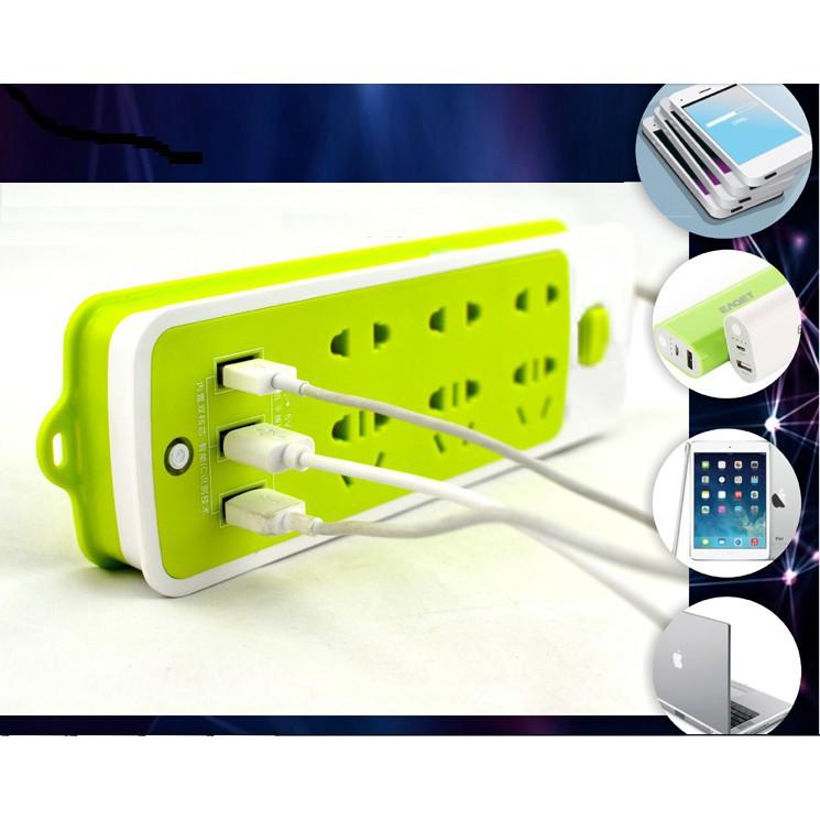 Ổ cắm điện 6 phích cắm kết hợp 3 cổng USB