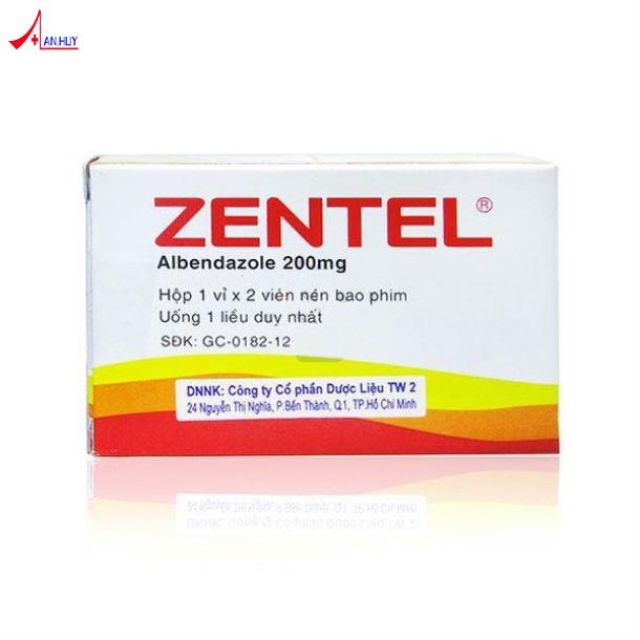 combo 2 hộp zentel - Điều trị nhiễm giun ở trẻ em và người lớn.